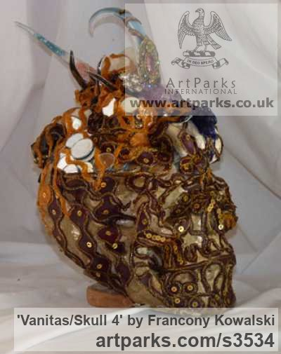 Prompt/indian fabric/glass paste Male Men Youths Masculine sculpturettes figurines sculpture by sculptor Francony Kowalski titled: 'Vanitas/Skull 4 (Flamboyant Exuberant Bust sculptures)' - Artwork View 2