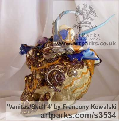 Prompt/indian fabric/glass paste Male Men Youths Masculine sculpturettes figurines sculpture by sculptor Francony Kowalski titled: 'Vanitas/Skull 4 (Flamboyant Exuberant Bust sculptures)' - Artwork View 3