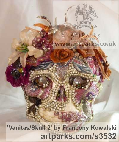 Plaster/indian fabric/strass Male Men Youths Masculine sculpturettes figurines sculpture by sculptor Francony Kowalski titled: 'Vanitas/Skull 2 (Exotic Flamboyant Theatrical Flowery sculptures)'
