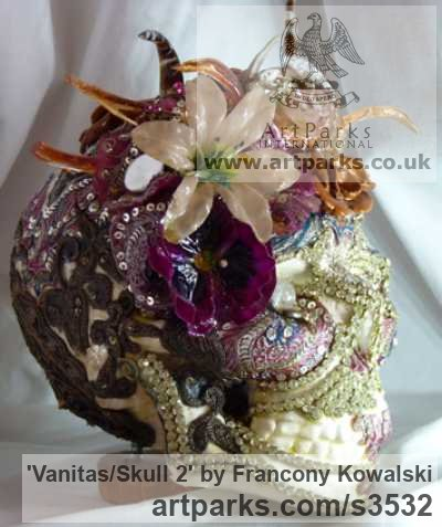 Plaster/indian fabric/strass Male Men Youths Masculine sculpturettes figurines sculpture by sculptor Francony Kowalski titled: 'Vanitas/Skull 2 (Exotic Flamboyant Theatrical Flowery sculptures)' - Artwork View 2
