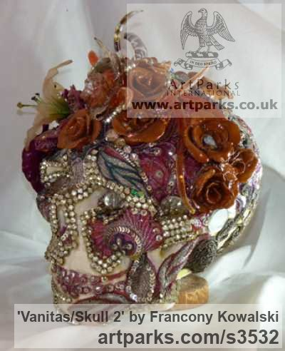 Plaster/indian fabric/strass Male Men Youths Masculine sculpturettes figurines sculpture by sculptor Francony Kowalski titled: 'Vanitas/Skull 2 (Exotic Flamboyant Theatrical Flowery sculptures)' - Artwork View 3