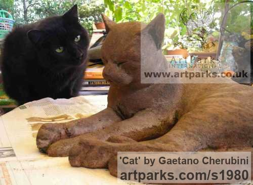 Terracotta Garden Or Yard / Outside and Outdoor sculpture by sculptor Gaetano Cherubini titled: 'Cat (Drowsing life size Outdoor Cat statues)' - Artwork View 4