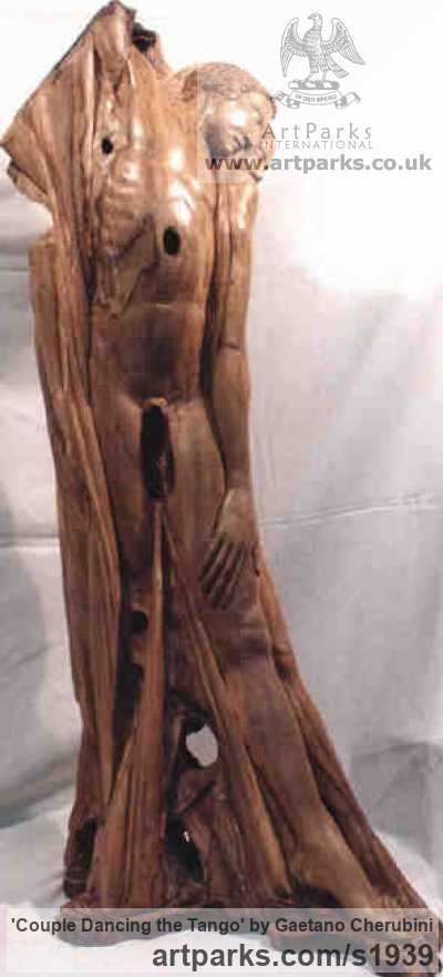 Olive Wood Wedding Anniversary Gift or Present sculpture statuettes sculpture by sculptor Gaetano Cherubini titled: 'Couple Dancing the Tango (nude Carved Wood statue)' - Artwork View 2