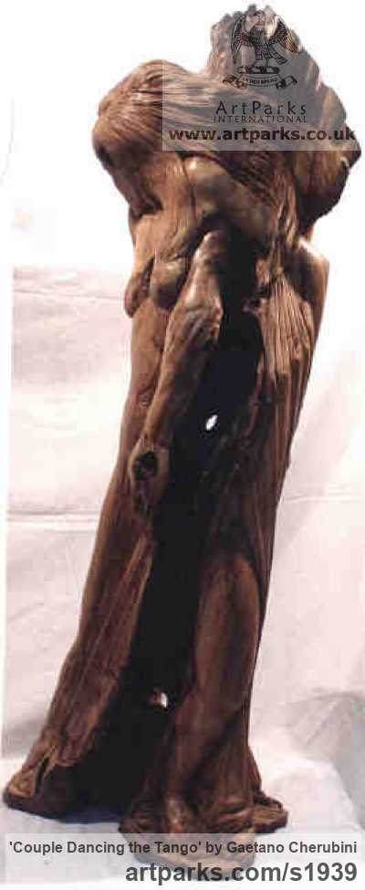Olive Wood Wedding Anniversary Gift or Present sculpture statuettes sculpture by sculptor Gaetano Cherubini titled: 'Couple Dancing the Tango (nude Carved Wood statue)' - Artwork View 3