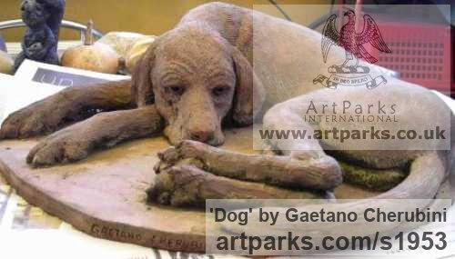 Terracotta Dogs sculpture by sculptor Gaetano Cherubini titled: 'Dog (Sleeping Exhausted Hound Terracotta sculpture)'