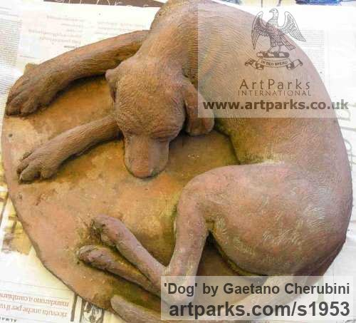 Terracotta Dogs sculpture by sculptor Gaetano Cherubini titled: 'Dog (Sleeping Exhausted Hound Terracotta sculpture)' - Artwork View 4