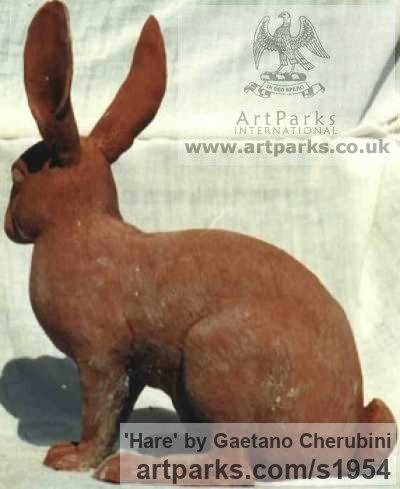 Terracotta Garden Or Yard / Outside and Outdoor sculpture by sculptor Gaetano Cherubini titled: 'Hare (Terracotta Alert Sitting Resting sculpture)' - Artwork View 2
