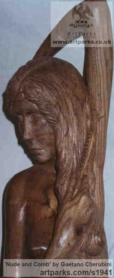 Elm Wood Garden Or Yard / Outside and Outdoor sculpture by sculptor Gaetano Cherubini titled: 'nude and Comb (Carved Wood Torso Body/Girl statue)' - Artwork View 4