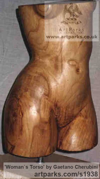 Chestnut Wood Females Women Girls Ladies sculpture statuettes figurines sculpture by sculptor Gaetano Cherubini titled: 'womans bust (Beautiful Carved Wood Naked nude Girl`s Torso statue)' - Artwork View 3
