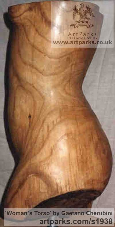 Chestnut Wood Females Women Girls Ladies sculpture statuettes figurines sculpture by sculptor Gaetano Cherubini titled: 'womans bust (Beautiful Carved Wood Naked nude Girl`s Torso statue)' - Artwork View 4