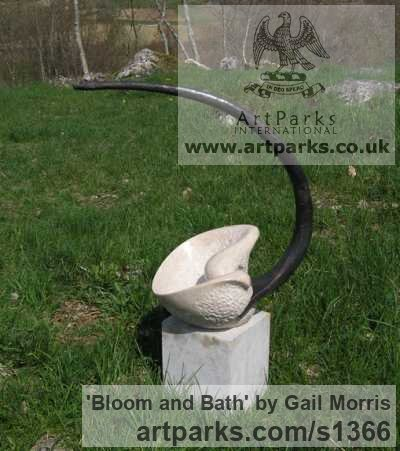 Stone, steel and lead Abstract Contemporary Modern Outdoor Outside Garden / Yard sculpture statuary sculpture by sculptor Gail Morris titled: 'Bloom and Bath (Semi abstract Flower statues/sculptures)' - Artwork View 2