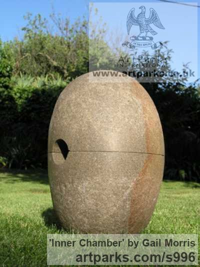 Stone Garden Or Yard / Outside and Outdoor sculpture by sculptor Gail Morris titled: 'Inner Chamber (abstract Pierced Oval stone garden sculpture)'