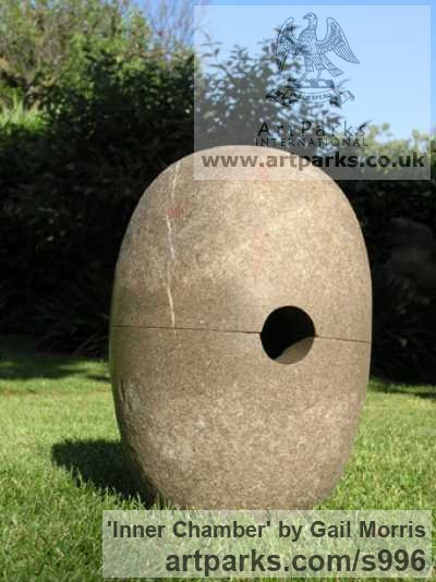 Stone Garden Or Yard / Outside and Outdoor sculpture by sculptor Gail Morris titled: 'Inner Chamber (abstract Pierced Oval stone garden sculpture)' - Artwork View 2