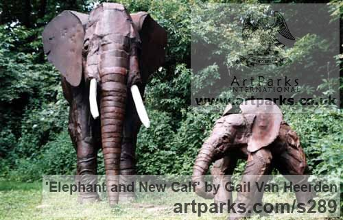 Recycled Metal Garden Or Yard / Outside and Outdoor sculpture by sculptor Gail Van Heerden titled: 'Elephant and New Calf (Steel life size sculpture)'