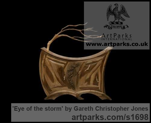 Native Walnut Varietal cross section of Floral, Fruit and Plantlife sculpture by sculptor Gareth Christopher Jones titled: 'Eye of the storm'