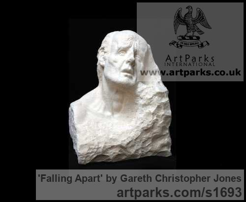 Carved Limestone Garden Or Yard / Outside and Outdoor sculpture by sculptor Gareth Christopher Jones titled: 'Falling Apart (Carved stone Sad Male Bust statues)' - Artwork View 1