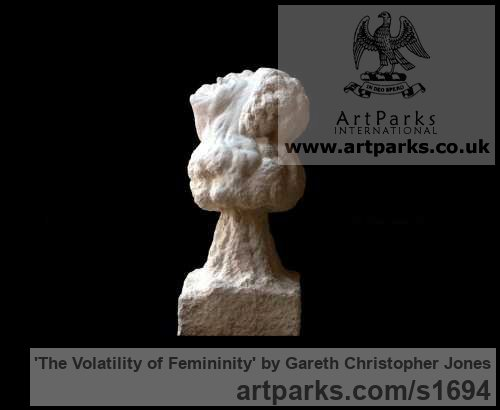 Limestone Females Women Girls Ladies sculpture statuettes figurines sculpture by sculptor Gareth Christopher Jones titled: 'The Volatility of Femininity (Allegorical female Bust Head Face carving)'