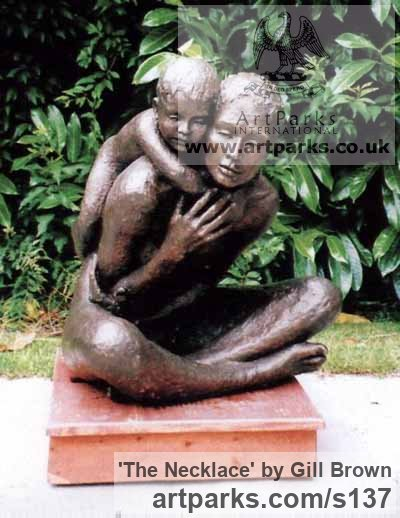 Bronze Garden Or Yard / Outside and Outdoor sculpture by artist Gill Brown titled: 'The Necklace (bronze Lifesize Mother and Child/Infant/Toddler Love statue)' - Artwork View 2