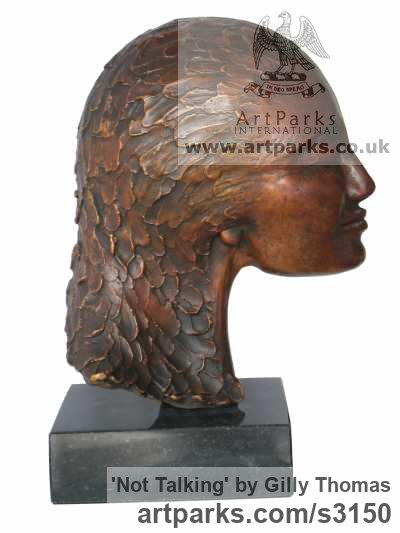 Bronze Portrait Sculptures / Commission or Bespoke or Customised sculpture by sculptor Gilly Thomas titled: 'Not Talking (Small Womans Head and Hair Bust statues/statuettes)'