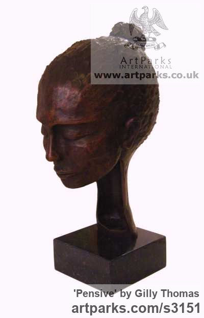 Bronze Portrait Sculptures / Commission or Bespoke or Customised sculpture by sculptor Gilly Thomas titled: 'Pensive (Small Bronze Indoor Womans Head or Bust sculptures)'