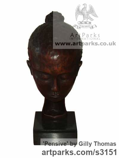 Bronze Portrait Sculptures / Commission or Bespoke or Customised sculpture by sculptor Gilly Thomas titled: 'Pensive (Small Bronze Indoor Womans Head or Bust sculptures)' - Artwork View 2