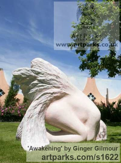 Resin Garden Or Yard / Outside and Outdoor sculpture by sculptor Ginger Gilmour titled: 'Awakening (Pink resin life size Kneeling Angel garden sculpture)'