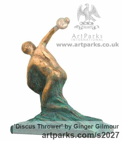 Bronze Male Men Youths Masculine sculpturettes figurines sculpture by sculptor Ginger Gilmour titled: 'Discus Thrower (Modern abstract take on Classical Discobolus statue)' - Artwork View 2