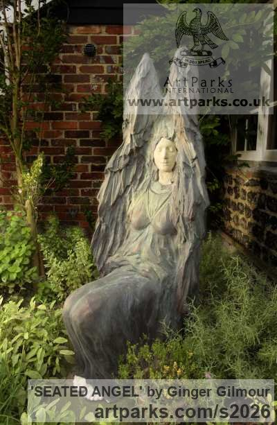 Bronze Resin/to be commissioned Garden Or Yard / Outside and Outdoor sculpture by sculptor Ginger Gilmour titled: 'SEATED ANGEL (Bronze resin garden/Yard statues)' - Artwork View 1