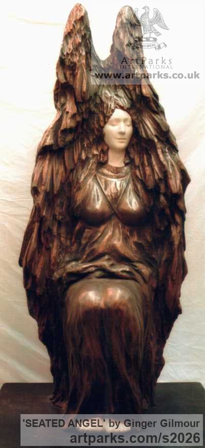 Bronze Resin/to be commissioned Garden Or Yard / Outside and Outdoor sculpture by sculptor Ginger Gilmour titled: 'SEATED ANGEL (Bronze resin garden/Yard statues)' - Artwork View 2