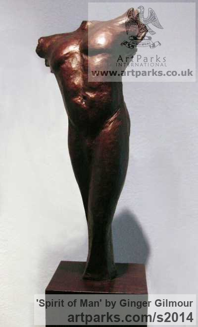 Bronze Male Men Youths Masculine sculpturettes figurines sculpture by sculptor Ginger Gilmour titled: 'Spirit of Man (bronze Contemporary Male nude Torso statues/sculptures)' - Artwork View 1