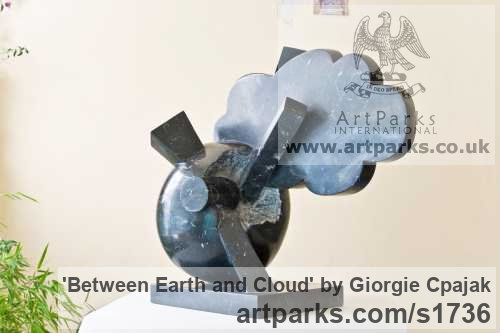 Black marble Abstract Contemporary Modern Outdoor Outside Garden / Yard sculpture statuary sculpture by sculptor Giorgie Cpajak titled: 'Between earth and cloud (abstract Contemporary Lightening sculptures)'
