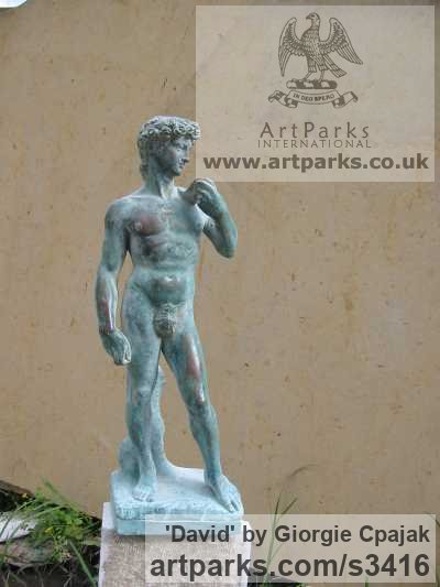 Bronze Garden Or Yard / Outside and Outdoor sculpture by sculptor Giorgie Cpajak titled: 'David (After MicHael Angelo`s statue garden)'