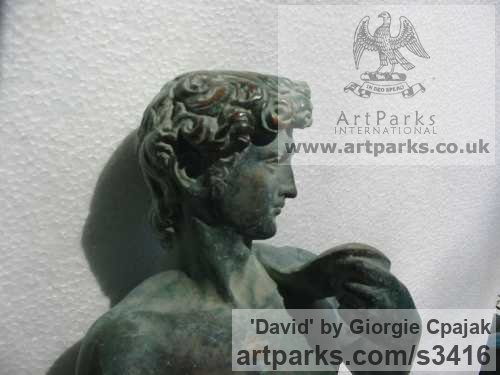 Bronze Garden Or Yard / Outside and Outdoor sculpture by sculptor Giorgie Cpajak titled: 'David (After MicHael Angelo`s statue garden)' - Artwork View 2