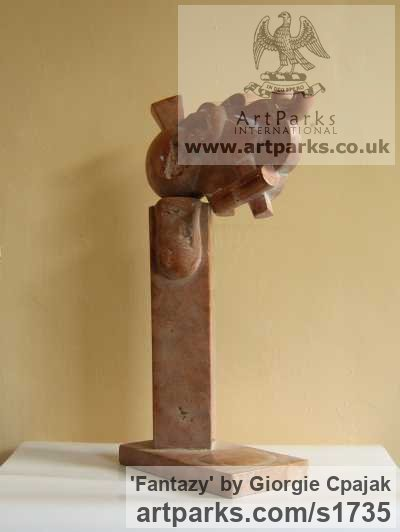 Red marble Abstract Contemporary or Modern Outdoor Outside Exterior Garden / Yard sculpture statuary sculpture by sculptor Giorgie Cpajak titled: 'Fantazy (Stone abstract Contemporary Modern statue)' - Artwork View 2