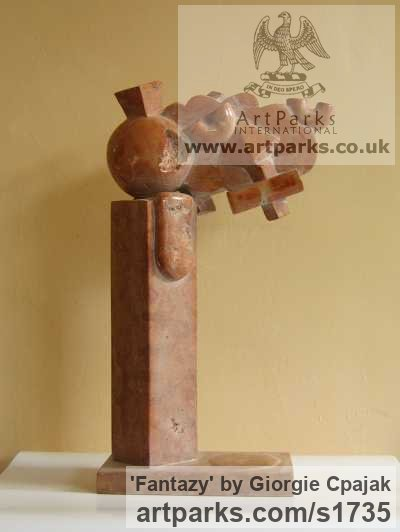 Red marble Abstract Contemporary or Modern Outdoor Outside Exterior Garden / Yard sculpture statuary sculpture by sculptor Giorgie Cpajak titled: 'Fantazy (Stone abstract Contemporary Modern statue)' - Artwork View 3
