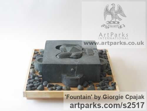 Black Granite Abstract Contemporary or Modern Outdoor Outside Exterior Garden / Yard sculpture statuary sculpture by sculptor Giorgie Cpajak titled: 'Fountain (Carved stone Contemporary abstract Fountain Water Feature art)'