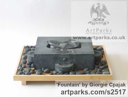 Black Granite Abstract Contemporary or Modern Outdoor Outside Exterior Garden / Yard sculpture statuary sculpture by sculptor Giorgie Cpajak titled: 'Fountain (Carved stone Contemporary abstract Fountain Water Feature art)' - Artwork View 2
