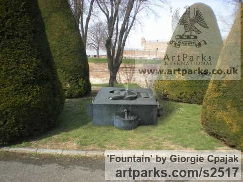 Black Granite Abstract Contemporary or Modern Outdoor Outside Exterior Garden / Yard sculpture statuary sculpture by sculptor Giorgie Cpajak titled: 'Fountain (Carved stone Contemporary abstract Fountain Water Feature art)' - Artwork View 4