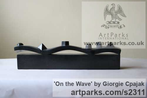 Black Marble Belgium Small / Little Abstract Contemporary Sculptures / sculpture by sculptor Giorgie Cpajak titled: 'On the Wave (Little Carved stone abstract statuette)' - Artwork View 2