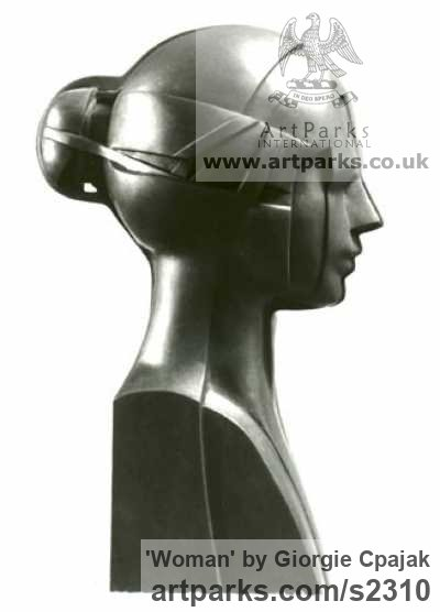 Black Granite Females Women Girls Ladies sculpture statuettes figurines sculpture by sculptor Giorgie Cpajak titled: 'Woman (Carved stone Girl`s Head/Bust carving statue)'