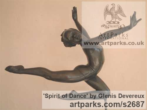 Bronze Females Women Girls Ladies sculpture statuettes figurines sculpture by sculptor Glenis Devereux titled: 'Spirit of Dance (Small Little bronze nude Ballet Dance sculpture/statue)'