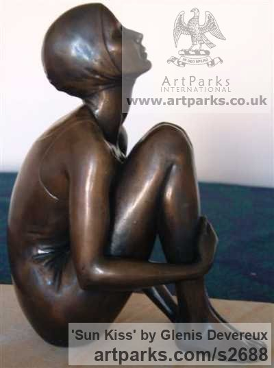 Bronze Garden Or Yard / Outside and Outdoor sculpture by sculptor Glenis Devereux titled: 'Sun Kiss (Arte Nouveau Girl Sitting sculpturette)'