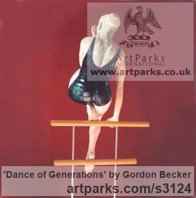 White pine, white maple and steel Sculptures of females by artist Gordon Becker titled: 'Dance of Generations (Carved Wood female sculptures)' - Artwork View 2