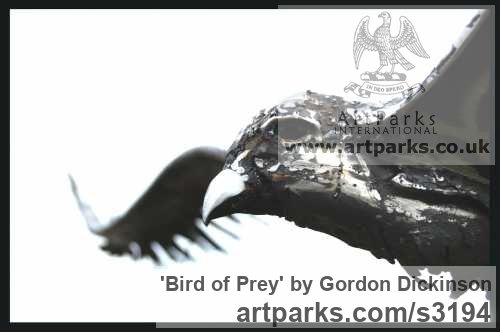 Mild steel Varietal Mix of Bird Sculptures or sculpture by sculptor Gordon Dickinson titled: 'Bird of Prey (Falcon Raptor Eagle Hawk Harrier Alighting Landing statue)' - Artwork View 2