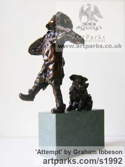 Bronze on Granite Garden Or Yard / Outside and Outdoor sculpture by sculptor Graham Ibbeson titled: 'ATTEMPT (Small Bronze Little Girl and Dog statues)' - Artwork View 1