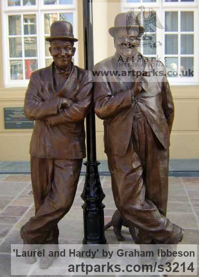 Bronze Playground Art Fantasy or Cartoon sculpture by sculptor Graham Ibbeson titled: 'Laurel and Hardy (Bronze life size Film Star sculpture/statue)'