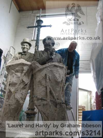Bronze Playground Art Fantasy or Cartoon sculpture by sculptor Graham Ibbeson titled: 'Laurel and Hardy (Bronze life size Film Star sculpture/statue)' - Artwork View 2