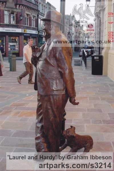 Bronze Playground Art Fantasy or Cartoon sculpture by sculptor Graham Ibbeson titled: 'Laurel and Hardy (Bronze life size Film Star sculpture/statue)' - Artwork View 3