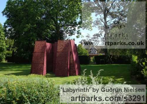 Wood & Fabric Garden Or Yard / Outside and Outdoor sculpture by sculptor Guðrún Nielsen titled: 'Labyrinth (Fabric Modern abstract Focal Point Yard statues)'