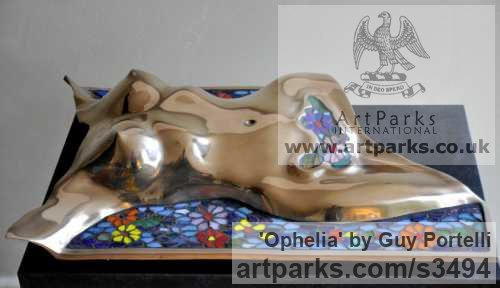 Bronze and Glass Mosaic Stylised Nude sculpturette ornament sculpture by sculptor Guy Portelli titled: 'Ophelia (Modern Pre Raphaelite Contemporary bronze nude statues Torso)'